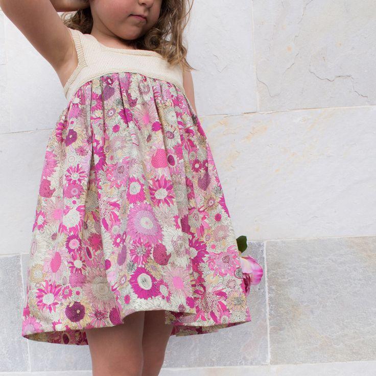 Vestido niña tela patchwork de flores