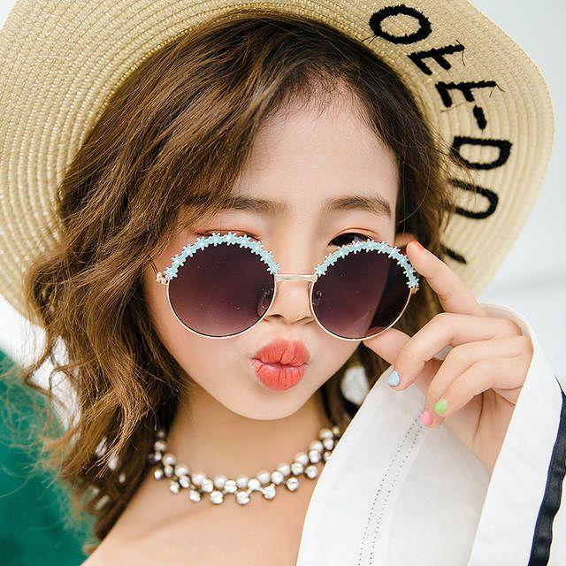 Girls Fashion Sunglasses Flower Floral Design Metal Frame