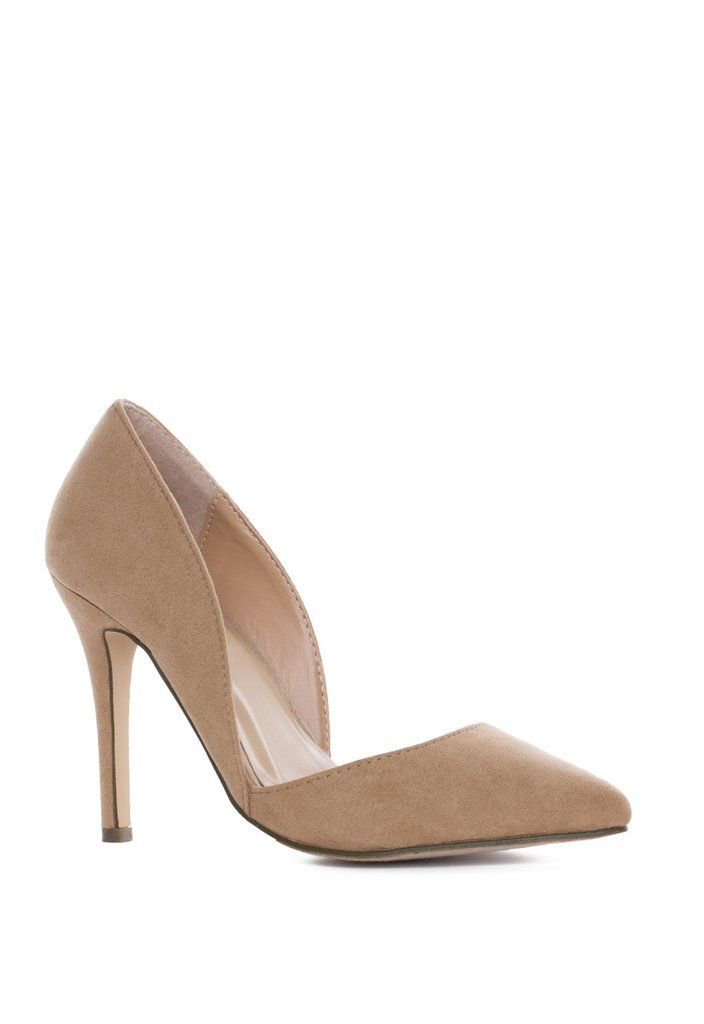 """It's ELECTRIFYING! Our Electric Love Pumps in taupefeature a faux suede material. Pointed toe and rounded sides forming a slight cut-out toward the bottom of foot. Small heel cup and cushioned insole. *Man Made Materials*Shoe Height: 6.75""""*Heel Height: 4.25*Imported"""