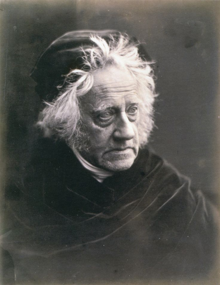 Julia Margaret Cameron (albumen print of Sir John Herschel with cap 1867). Herschel, astronomer (he discovered the planet Uranus) mathematician and chemist corresponded with Cameron on the invention of photography and the early process of developing images. The elderly Herschel wanted only Cameron to take his photograph, thus the above.