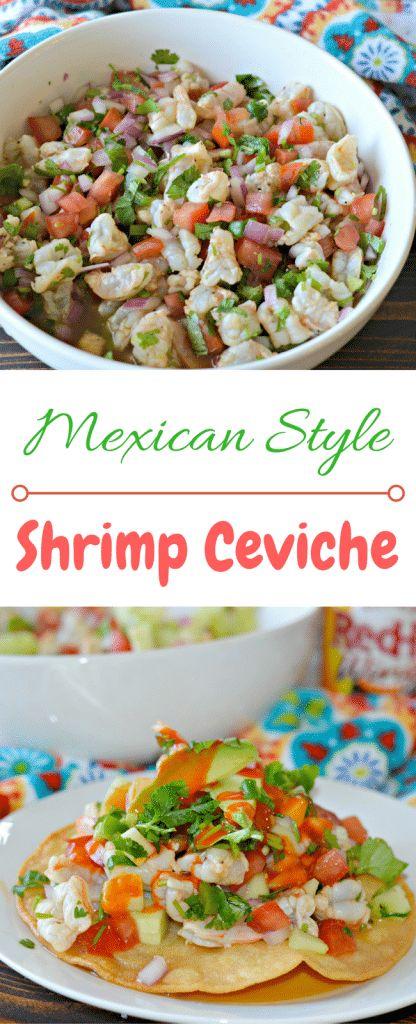 Shrimps Ceviche mit Shrimps, Limettensaft, Avocado, Jalapeño, Koriander und …