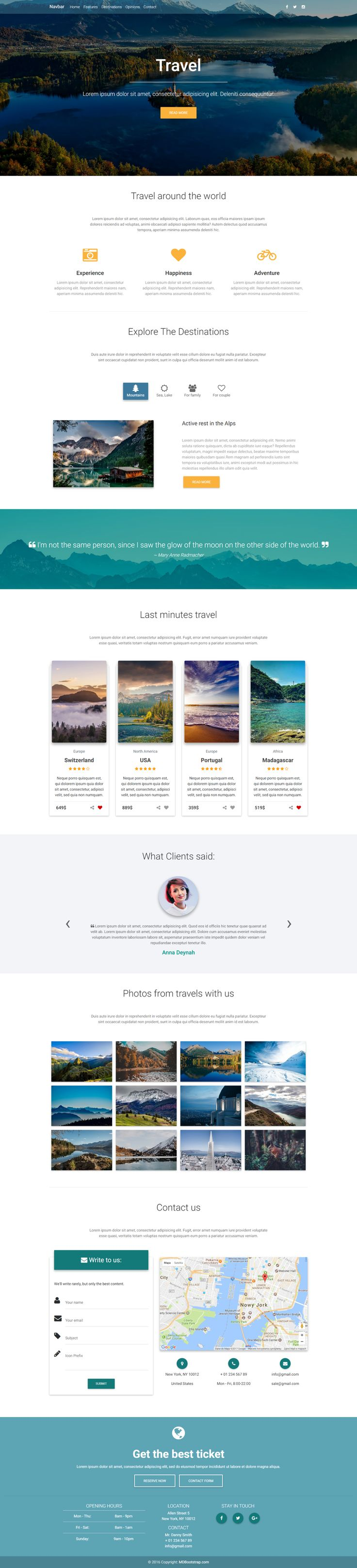 Travel Landing Page Template, created in Material Design spirit