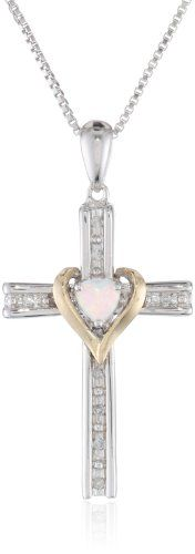 """Sterling Silver and 14k Gold Cross Pendant Necklace, 18""""  Most helpful customer review By russell  pretty necklace, nice value  this necklace was purchased as a small gift for my wife. the cross, heart, and pearl combination is unique and well represented in the pic. the silver, gold and diamond mix is a little unique too but you obviously don't buy this one for the diamonds. it is a pretty necklace. she loves it. List Price:$199.00 Price:$79.00 - $89.00"""
