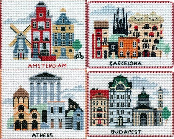 Diy Magnet Cross Stitch Kit With Capitals Of The World 16 Kits For Your Choice Cross Stitch Kit Cross Stitch Diy Magnets