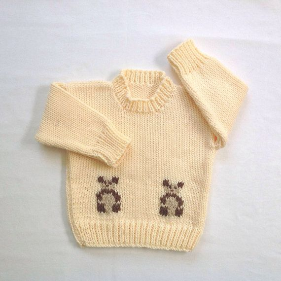 Baby sweater with teddies  12 to 24 months  Baby by LurayKnitwear