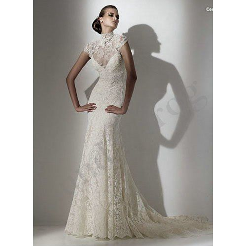 Freeshipping New Arrival Custom Made Short Sleeve Beaded Lace Mermaid Turtleneck Wedding Dresses Bridal Gowns LS328-in Wedding Dresses from Apparel & Accessories on Aliexpress.com