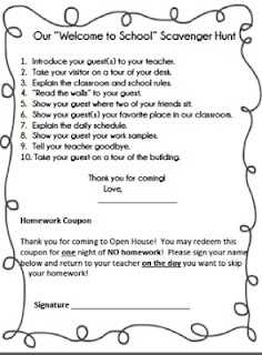 Free Back to School Open House or Parent Orientation Scavenger Hunt on Tpt   here   http://www.teacherspayteachers.com/Product/Back-to-School-Scavenger-Hunt-for-Open-House-or-Parent-Orientation    We had fun with this activity!  Second-Grade-Fun.blogspot.com