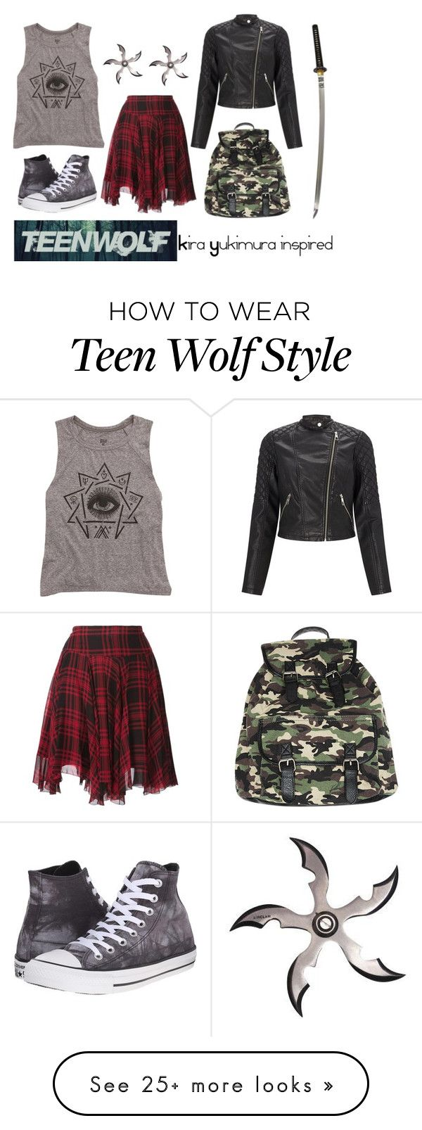 """""""Kira Yukimura inspired outfit // Teen Wolf"""" by misscreepyashell on Polyvore featuring Converse, Billabong, Polo Ralph Lauren, Lipsy and Wet Seal"""