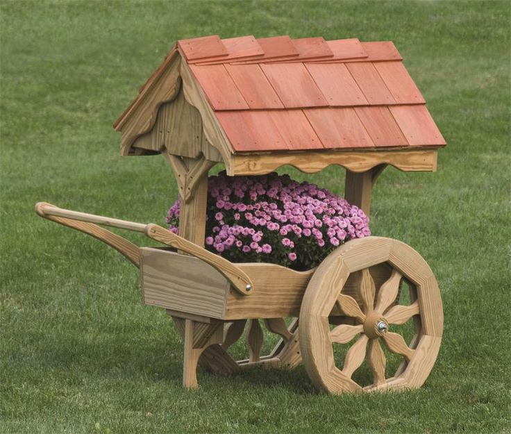 Amish Wooden Rustic Garden Cart Planter - Made in America | Amish ...