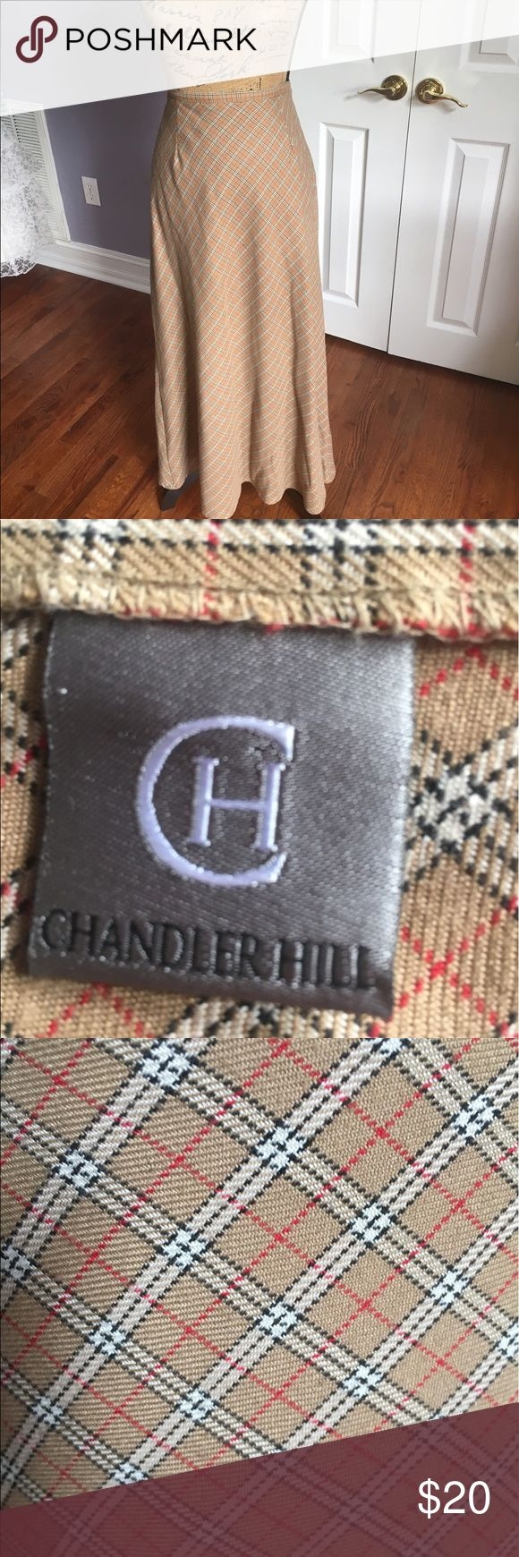 """Long Burberry Print A-Line SKIRT Great condition!  Waist is 16""""; pretty sure this is a size 12. chandler hill Skirts A-Line or Full"""
