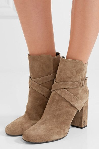Saint Laurent - Babies Buckled Suede Ankle Boots - Taupe - IT39.5