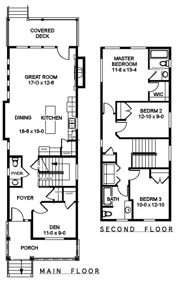 25 best ideas about narrow house plans on pinterest for Narrow home floor plans