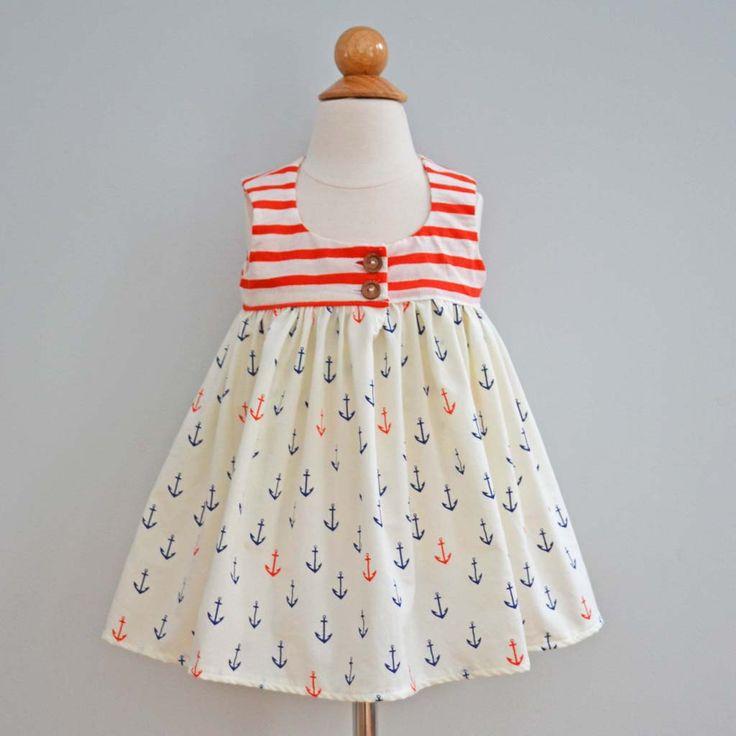 Nautical girls dress - organic girls dress - baby girl sundress - nautical baby outfit - organic baby dress - girls sundress - anchors by TwoLittleBeansCo on Etsy