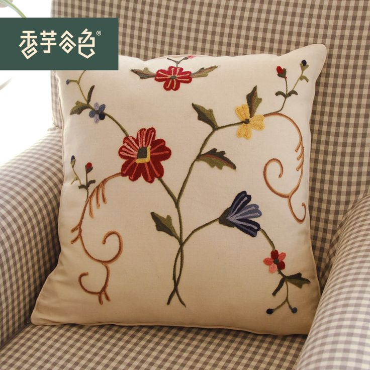 2014 del coche del sofá cojín para inclinada on de cama cojín para inclinada algodón bordada a mano de lino almohada almohada decora for un sofá(China (Mainland))