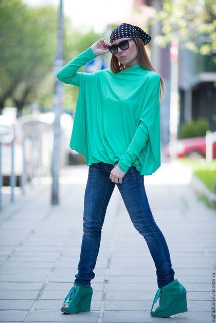 Блузка. Мятный цвет. Блузка с длинным рукавом. Блузка. Хлопок. Ярмарка Мастеров.