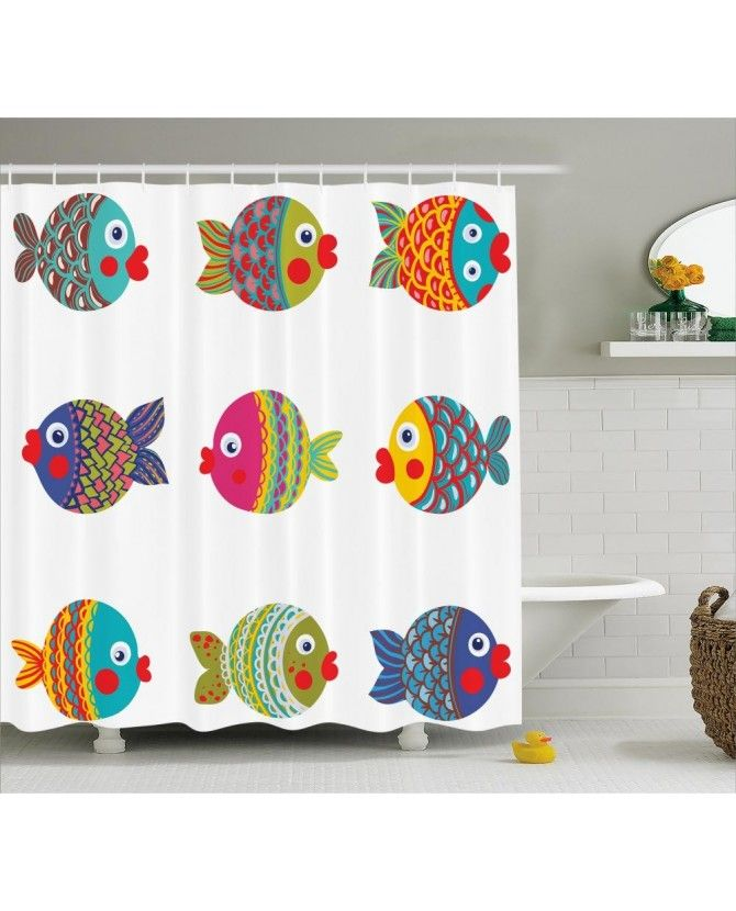 Cartoon Fish Shower Curtain With Images Kids Shower Curtain