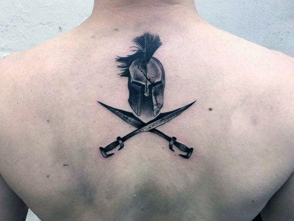 Back Man With Gladiator Sword Tattoos