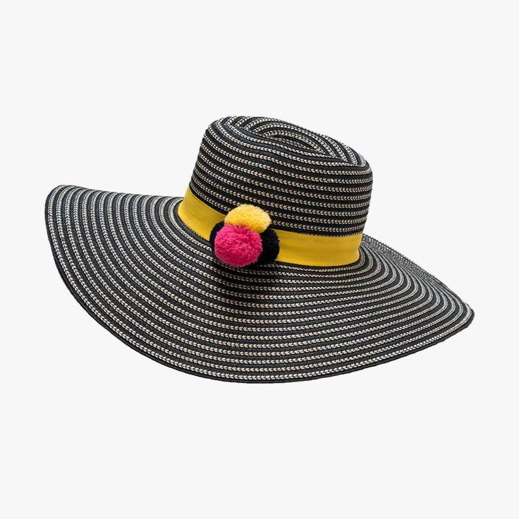Black Pom Pom Beach Hat from Dear Keaton