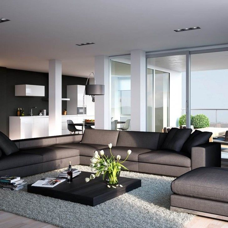 Modern Style Grey Living Room Decorations Modern White Ceiling Lamp Dark Grey L Shape Sofa And Grey Poof Black Wood Low Coffee Table Grey Living Room Grey Fur Rug Black Arch Lamp Large Window Living Room