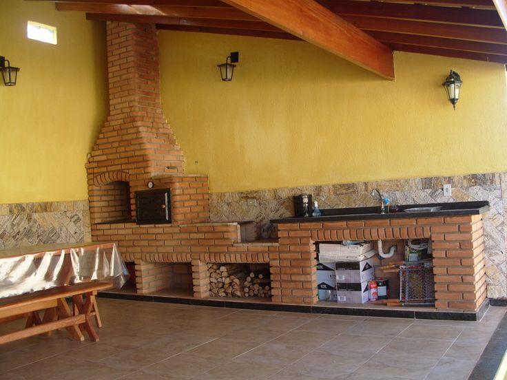 modelos de cozinhas com fogao a lenha e churrasq - Pesquisa Google