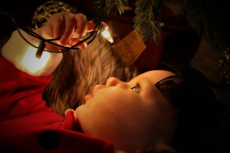 Santa baby christmas photography lights christmas tree