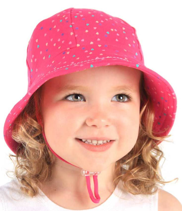 Baby Bucket Hat - Heart Print with Strap - Bright Pink. Available in 3 sizes from birth. Rated UPF50+ Excellent Protection. http://www.bedheadhats.com.au/heart-print-baby-bucket-hat-with-strap-bright-pink