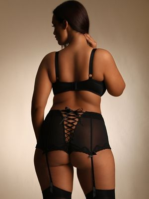 High Waisted Panty with Lace Up Back. This sheer mesh panty has a high waist with lace up ribbon back detail.