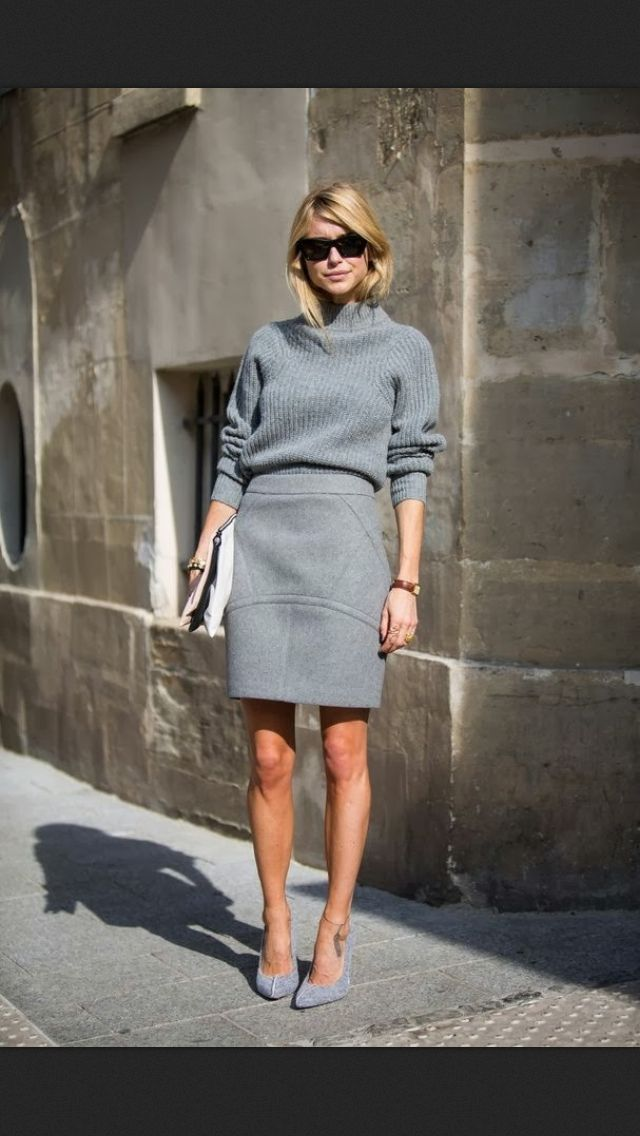 ✮Pernille Teisbæk at PFW in Paris wearing: Knit by ACNE Skirt by T BY ALEXANDER WANG AT PEDE&STOFFER Shoes by Designers Remix Clutch Sunglasses by Céline