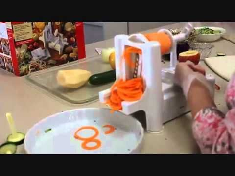Paderno World Cuisine Spiral Vegetable Slicer great video - shows lots of veggies including an onion -- brilliant