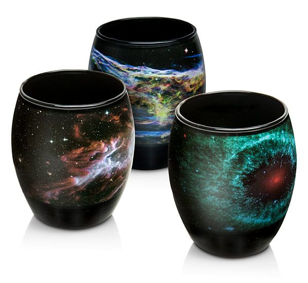 This Nebula Glasses Set lets you start your day gazing on the wonder of space as captured by NASA's telescopes. These glasses are decorated with four nebulae: the Veil, the Butterfly, the Helix, and the Seahorse.