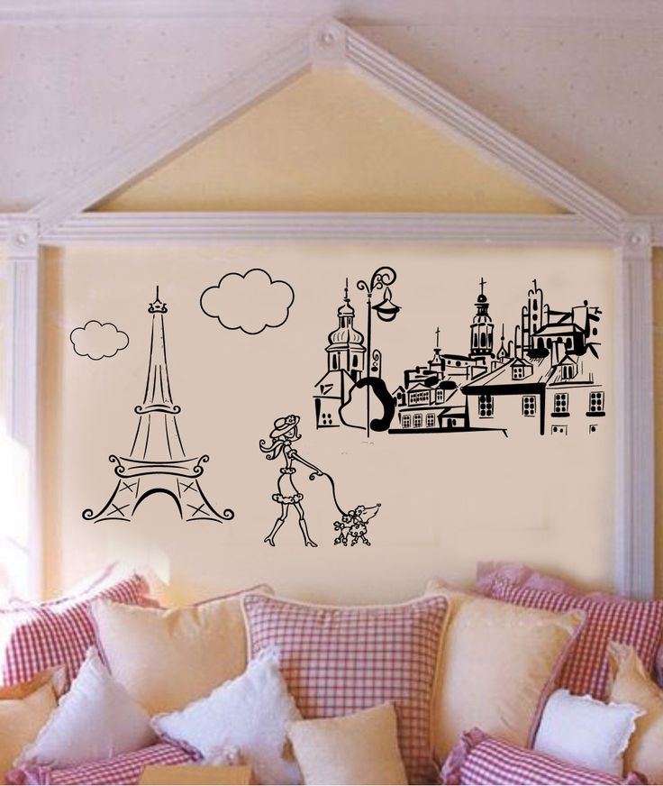 Paris Theme 5 piece Decals Eiffel Tower Poodle by wallstory