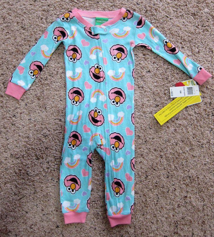 SESAME STREET Girls 18 months Blanket Sleeper Pajamas Elmo Blue Pink Zipper NWT  #SesameStreet #Sleeper