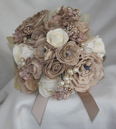 mocha beige bouquet artificial flower foam rose & buttonhole WEDDING pearl tulle