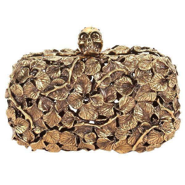 Alexander McQueen gold leaf metal skull box clutch 1