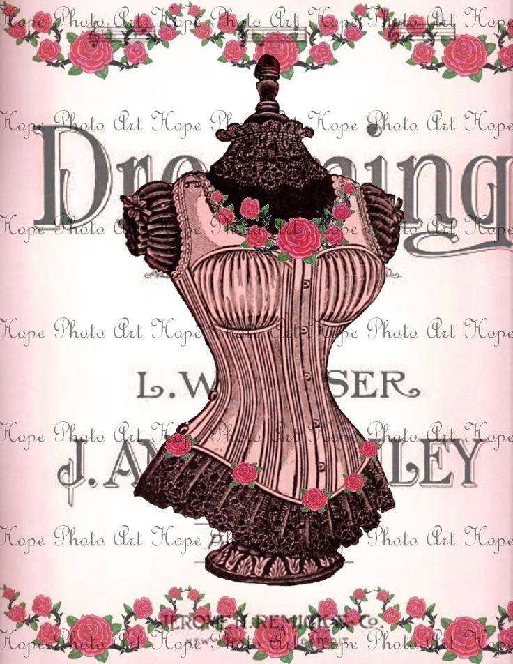 Vintage Victorian Corset 8.5x11 Digital Collage Image ...