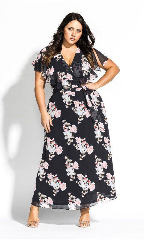 de29ab71ab3 Shop Women s Plus Size Sacred Lotus Maxi Dress - black - Maxi Dresses -  Dresses