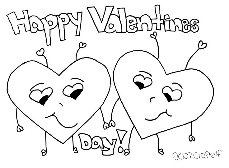 happy valentines day coloring page 2 hearts