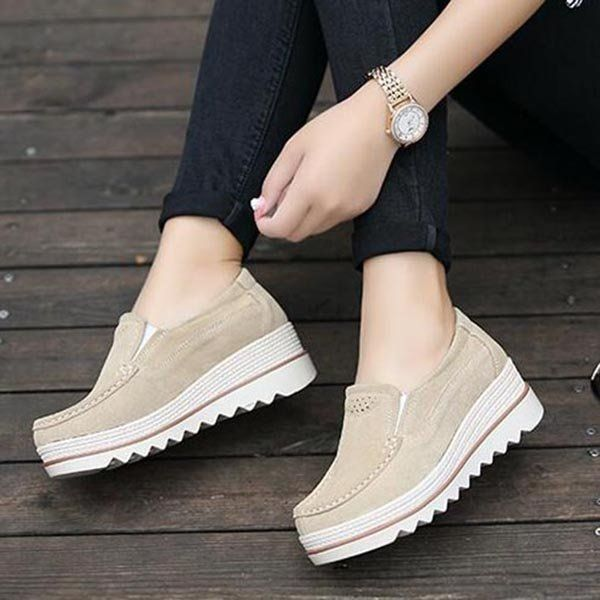 5b53f5904 Comfortable Womens Breathable Suede Round Toe Slip On Platform Shoes -  NewChic | Women shoes and shoe accessories in 2019 | Shoes, Oxford shoes  outfit, ...
