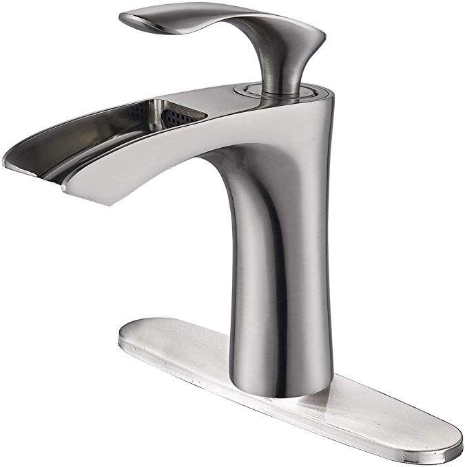 Senlesen Deck Mount Waterfall Spout Single Hole Lever Bathroom Vessel Sink Faucet With 8 Inch Cover Plate Sink Faucets Vessel Sink Faucet Vessel Sink Bathroom