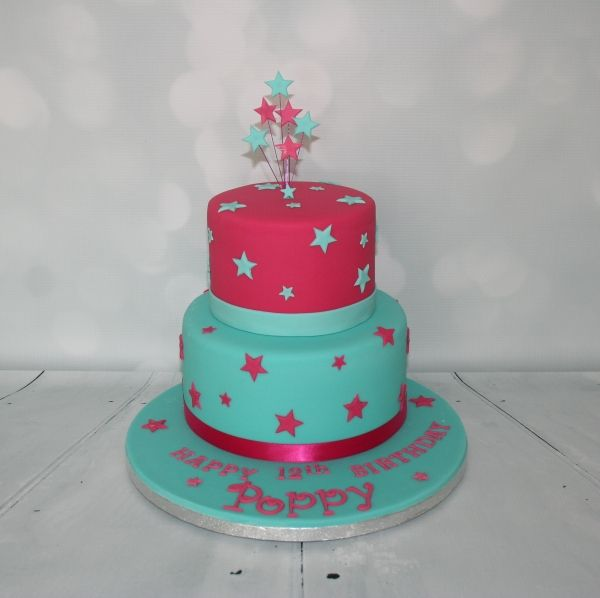 Pink & jade 2 tier birthday cake
