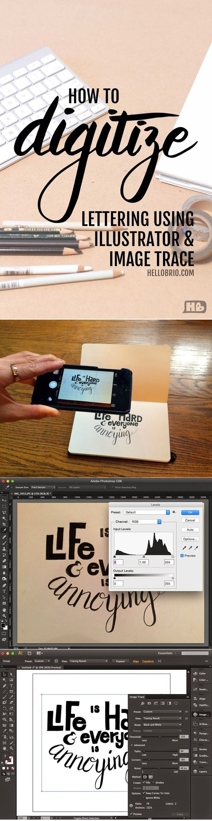:::: ✿⊱╮☼ ☾ PINTEREST.COM christiancross ☀️❤️•♥️•* :::: how to digitize your hand lettering using illustrator's image trace.