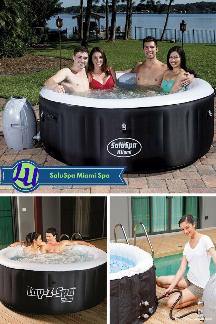 SaluSpa Miami Airjet Inflatable Hot Tub (Detailed Review | Hot Tub Galore |  Whirlpool Bathtub, Whirlpool Tub, Tub
