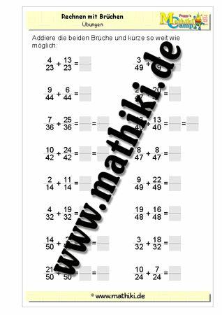 Addition gleichnamiger Brüche - ©2011-2016, www.mathiki.de - Ihre Matheseite im Internet #math #fraction #arbeitsblatt #worksheet