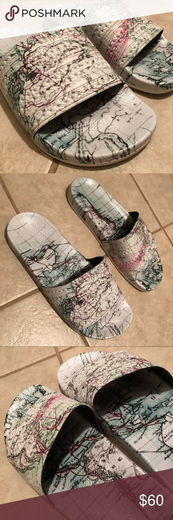 MENS Eddie Huang x Adidas Originals Adilette Slide Eddie Huang x Adidas Originals collaboration slide. Cream colored adilette slipper wrapped in an old world map, representing the world's culinary influence on Huang's signature dishes. WORN ONCE, NO TAGS OR BOX. Perfect condition Adidas Shoes Slippers