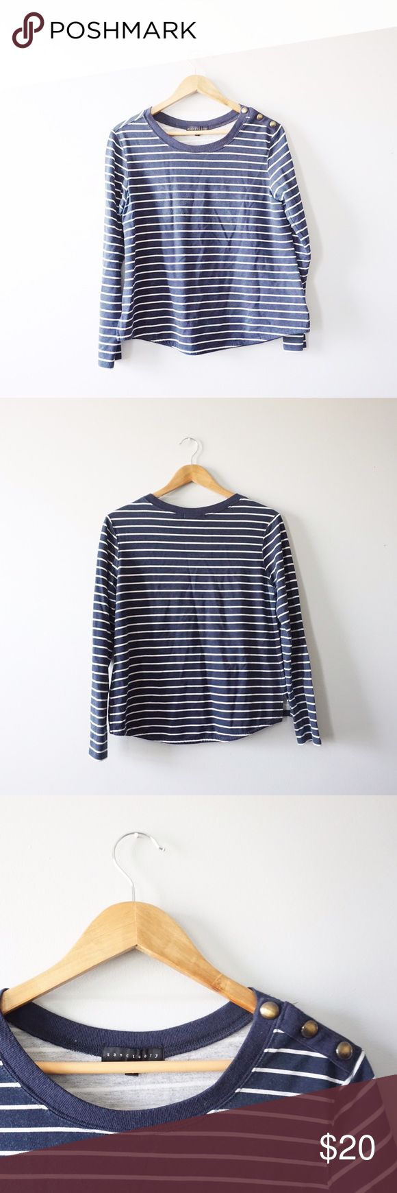 Sanctuary Striped Capitol Top Sanctuary blue and white nautical long sleeve top size medium. Button side detailing. Super soft! Rayon and polyester. 23 inches long, 19 inches bust. The blue is starting to bleed into the white, but looks normal. No stains or holes. Sanctuary Tops Blouses
