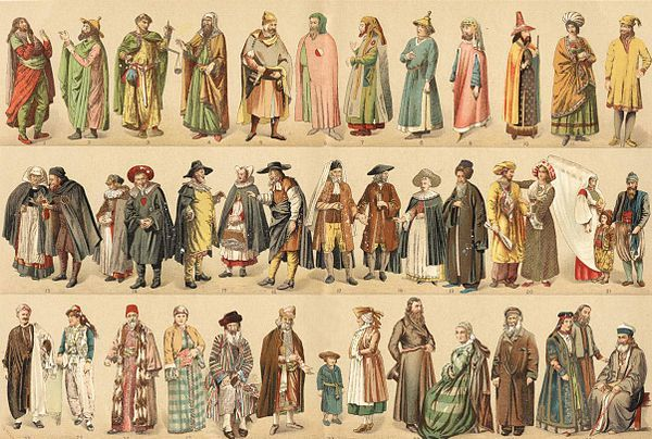 Various costumes of medieval French Jews.
