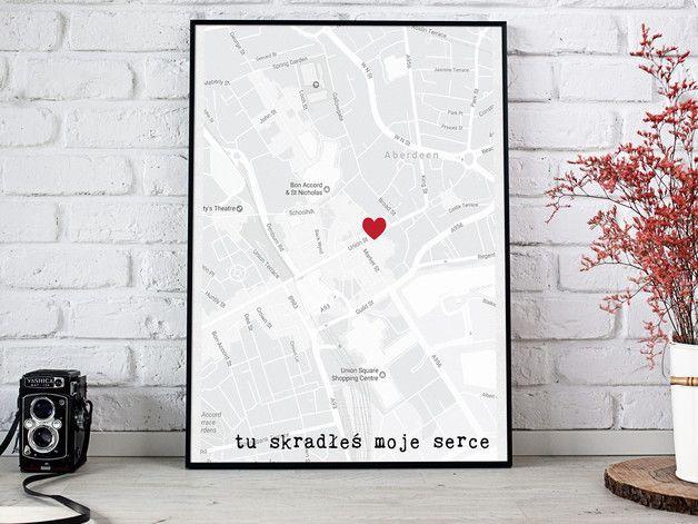 TU SKRADLAS MOJE SERCE plakat mapa walentynkowy