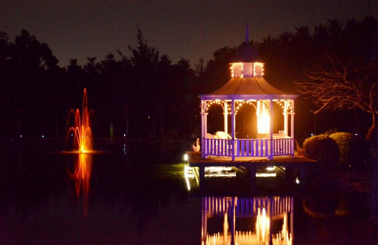 Gazebo in lights on lakes edge