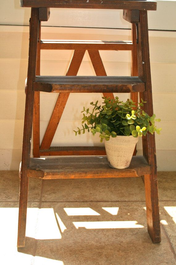 Vintage Antique Wooden Step Ladder, Cottage Chic Decor ...