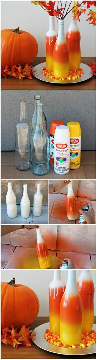 DIY Ombre Candy Corn Wine Bottle Vases Halloween Decorations Tutorial | Brit + Co - Spooktacular Halloween DIYs, Crafts and Projects - The BEST Do it Yourself Halloween Decorations